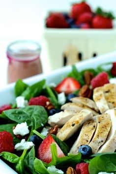Summer Spinach Salad with Grilled Chicken and Creamy Berry Balsamic Dressing | The Foodie Physician