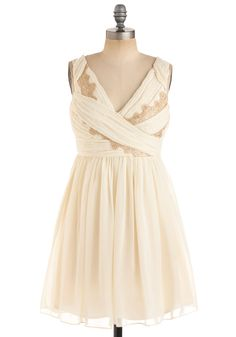 Gilded Grecian Dress - Cream, Gold, Floral, Formal, Wedding, Party, A-line, Tank top (2 thick straps), Spring, Fall, Mid-length, Prom, Lace