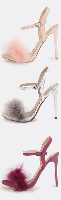 "Make a sweet entrance with the Fluffy Feather High Heels! Features an open toe, faux feather statement design, adjustable ankle strap, and a slightly padded insole. Finished with a 4.5"" stiletto heel. Pair with a high waist skirt and a tucked in button down for a fun office look."