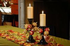 Cathie & Steve {Make. Bake. Celebrate!}: Fall Leaf Table Runner and Candle Sticks