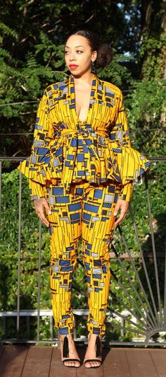 Amora Yellow Deep V Crop Top ~DKK ~African fashion, Ankara, kitenge, African women dresses, African prints, African men's fashion, Nigerian style, Ghanaian fashion.