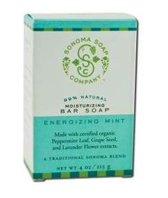 Sonoma Soap Company Energizing Mint Bar Soap by Sonoma Soap Company. $2.99. Front label panel: SONOMA SOAP COMPANY 99% NATURAL MOISTURIZING B A R S O A P E N E R G I Z I N G M I N T Made with certified organic Peppermint Leaf, Grape Seed, and Lavender Flower extracts. A TRADITIONAL SONOMA BLEND NET WT 4 OZ / 113 G Instructions: Wash slowly; savor the pure fragrance and deep luxury of the genuine Sonoma Blend experience.Ingredients: sodium palmate, sodium cocoate/sodium palm...