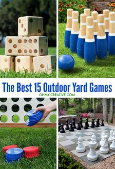Keep the kids busy with these best 15 outdoor yard games! These are the best and most entertaining outdoor yard games your backyard needs before summer is over.OHMY-CREATIVE.COM #yardgames #yardpartygames #giantyardgames Outdoor Yard Games, Diy Yard Games, Lawn Games, Diy Games, Backyard Games, Outdoor Fun, Backyard Ideas, Yard Games For Kids, Best Outdoor Games