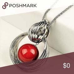 """Red pendant long necklace """"Pop"""" of color to any outfit ✨28"""" length and the pendant is 2""""x3"""" ✨Worn 2-3 times ✨EUC ✅ Use the """"Add to Bundle"""" button to purchase more than one item in my closet at once; you'll receive a bundle discount and only pay one shipping fee! Jewelry Necklaces"""