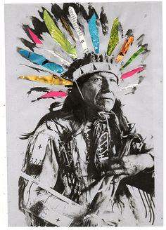 chief headdress, indian, collage artwork