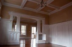 craftsman columns, board & batten wainscoting
