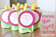 Funky Polkadot Giraffe: Preschool Valentines: You're My Main SQUEEZE! with Silhouette SD print and cut tutorial Emma Kinder Valentines, Valentine Treats, Valentines Day Party, Valentine Day Crafts, Preschool Valentine Ideas, Homemade Valentines, Valentines Ideas For Babies, Preschool Ideas, Valentine Gifts For Toddlers