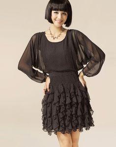 Women Summer Dotted Falbala Scoop Chiffon Black Dress S/M/L@IM2149b
