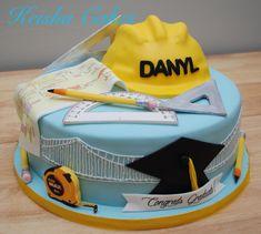 Civil engineer graduation cake. With edible hard hat, plans, measuring tape, pencils, rulers and graduation cap.