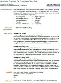 Graduate engineer cv example