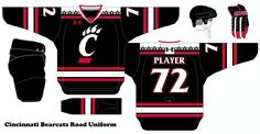 College Hockey Design Concepts for schools that don't have D1 hockey Cincinnati Bearcats Road Uniform