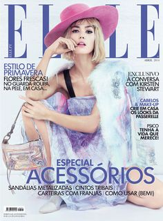 Emporio #Armani embellished dress and mesh boots featured on the cover of Elle Portugal, April 2014