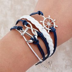 "White & Blue Nautical Anchor Bracelet by thehazelboutique on Etsy Great for New Beginnings 2015 YW Theme ""O ye that embark in the service of God"""