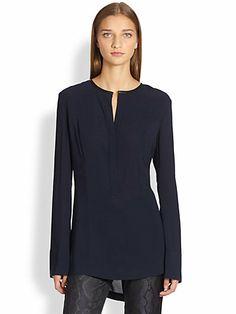 Donna Karan - Leather-Trimmed Silk Crepe Blouse - Saks.com