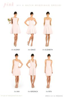 Pretty pink bridesmaid dresses with different necklines and styles from Weddington Way