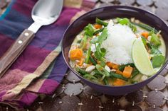 V Vegetarian Green Coconut Curry with Jasmine Rice