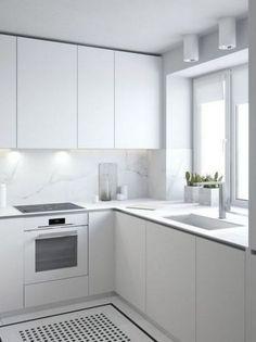 All white kitchen inspiration, with fingerpull doors and drawers, White Kitchen Decor, Home Decor Kitchen, Kitchen Interior, Home Kitchens, Modern Kitchen Cabinets, Kitchen Cabinet Design, Modern Kitchen Design, Modern Design, White Kitchen Inspiration