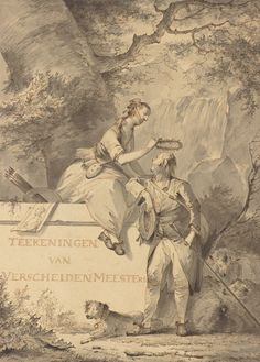 """""""Allegory of Painting and Drawing,"""" Gerard van Nijmegen, 1801. Pencil, pen and gray and brown ink, and gray wash. Classic Artwork, Getty Museum, Brown And Grey, Gray, Artist At Work, Impressionism, Painting & Drawing, Landscape Paintings, Illustration Art"""