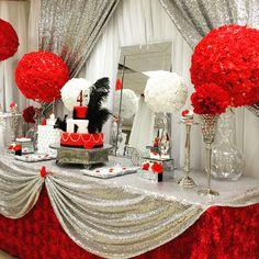 My Little Angel Decorations 's Birthday / Red Roses - Red Roses Birthday at Catch My Party Red Party Themes, Silver Party Decorations, Retirement Party Decorations, Quince Decorations, Party Centerpieces, Birthday Decorations, Party Ideas, Birthday Backdrop, Mascrade Party