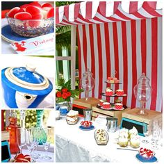 Canopy for Lolly Shop Display Candy Buffet Red white vintage stripe - by VintageSewandSo on madeit