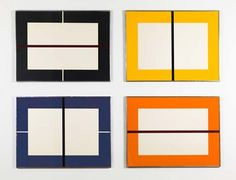 Donald Judd Untitled (Schellmann 298-301), 1993 Set of four (4) woodcuts printed in black, orange, yellow, and ultramarine blue on Japanese paper