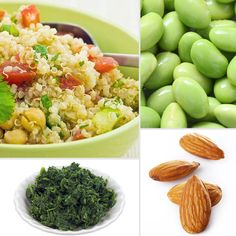 Surprising Protein Sources:    1.Spinach (one cup, cooked): 5.3 g  2.Bulgur (one cup, cooked): 5.6 g   3.Raw almonds (23 kernels): 5.9 g  4.Frozen edamame (one-half cup): 6 g  5.Sunflower seeds (one-fourth cup): 6.2 g  6.Quinoa (one cup, cooked): 8.1g