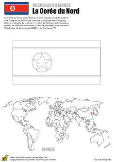 A colorier, le drapeau de la Corée du Nord et la carte du monde
