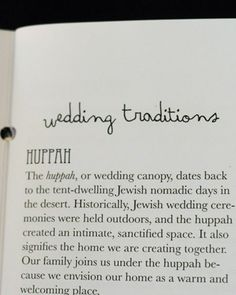 Wedding Traditions/Handout (Because some of my friends and family will have no idea what we are doing. ;) )