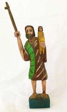 Vintage Santos of Guatemala. Saint Joseph & Christ Child.