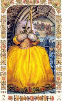 2 of Swords in Baroque Bohemian Cats Tarot.  Deck by Karen Mahoney and Alex Ukolov © 2004 Magic Realist Press