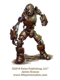 Art for the Pathfinder Campaign Setting: Numeria, Land of Fallen Stars Robot Golem Robot Concept Art, Robot Art, Dnd Characters, Fantasy Characters, Pen & Paper, Apocalypse, Pathfinder Rpg, Star Wars Droids, Dnd Monsters