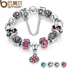Cheap bracelets for, Buy Quality strand bracelets directly from China bracelets for women Suppliers: BAMOER Silver Original Glass Bead Strand Bracelet for Women With Safety Chain & Crystal Fashion Jewelry Silver Charm Bracelet, Silver Charms, Silver Beads, 925 Silver, Sell Silver, Sterling Silver, Fashion Bracelets, Fashion Jewelry, Women Jewelry