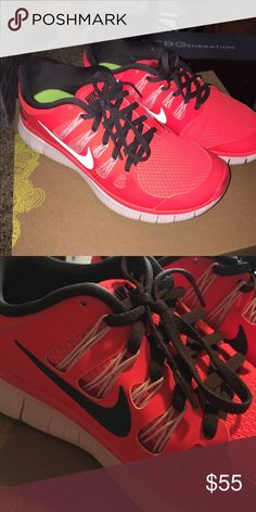 Bright Nike Free Runs!🌞 Newer, only worn once or twice. Very pretty bright red/orange color Nike Shoes