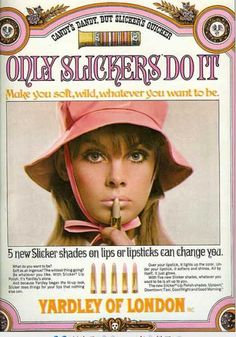 1967 Yardley Slickers lipstick ad