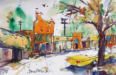 """David Peterson - Watercolor Painting,""""Your Town."""" 22x15"""