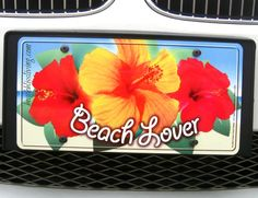 Express yourself with a vanity beach license plate or frame! Featured on Beach Bliss Living: http://beachblissliving.com/vanity-beach-licence-plates-frames/