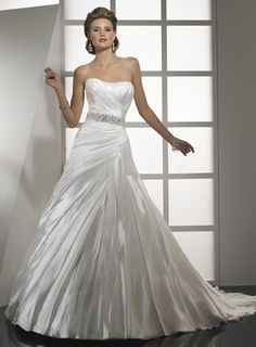 Strapless A-line satin bridal gown. May have found the dress