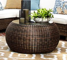 Torrey All-Weather Wicker Round Coffee Table | Pottery Barn