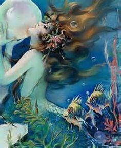 Vintage Venus Mermaid with Pearl, Artist Henry Clive Magical Creatures, Fantasy Creatures, Sea Creatures, Mermaid Sign, Mermaid Fairy, Tattoo Mermaid, Art Vampire, Vampire Knight, Fantasy Mermaids