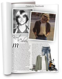 """""""Celebrity Yearbook: Kurt Cobain"""" by hallowpoint-smile ❤ liked on Polyvore"""
