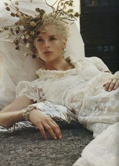 """stopdropandvogue: """" Kylie Bax for Vogue Italia September 1996 photographed by Steven Meisel, styled by Nicoletta Santoro, and makeup by Pat McGrath """" Editorial Photography, Fashion Photography, Photography Ideas, Fru Fru, Steven Meisel, Arte Floral, Floral Crown, Chic Wedding, Belle Photo"""