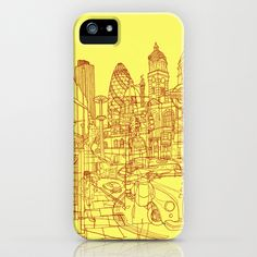London! Yellow/Red iPhone & iPod Case by David Bushell - $35.00