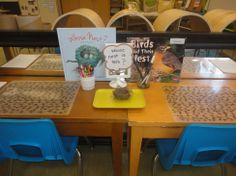 """""""Whose Nest is This?"""" provocation: created with a nest a student found on her way to school. Small and quaint, encourages small groupings."""