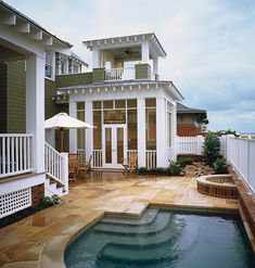 small pool- I love the screened porch with observation tower!