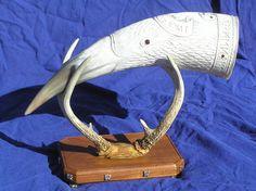 Very large Raven horn and antler stand pic 2 by Bonecarverpm.deviantart.com on @DeviantArt