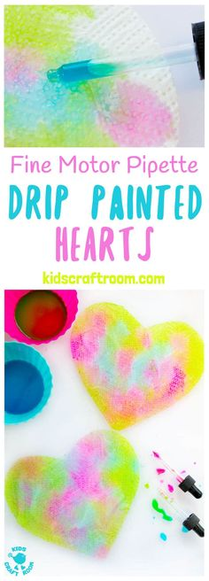 PIPETTE DRIP PAINTING HEARTS is a fun open ended process art for kids that develops fine motor skills, and explores colour mixing and pattern making. #painting #paintingideas #kidspainting #paintingforkids #motorskills #valentine #valentinesday #valentinesdaycraft #valentinecraft #valentinescrafts #valentinecrafts #valentinesdayforkids #heart #love #kidsart #processart #finemotorskills #kidsactivities #kidscrafts #kidscraftroom via @KidsCraftRoom