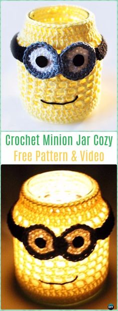 minion crochet patterns Crochet patterns free kitchen mason jars 38 New Ideas Crochet Cup Cozy, Crochet Bebe, Cute Crochet, Crochet Crafts, Diy Crafts, Crochet Ideas, Mason Jar Cozy, Mason Jars, Minion Crochet Patterns