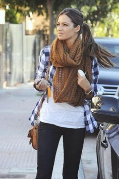 blue gingham / oversized brown scarf / black / white / outfit