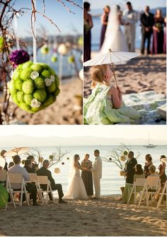Beach wedding at dusk. Love the trees with decorations hanging in the front. But glare from sun? Beach Wedding Decorations, Beach Weddings, Wedding Planning Inspiration, Wedding Ideas, Wedding Bells, Wedding Events, Lake Tahoe Beach, Alter Decor, Little Black Books