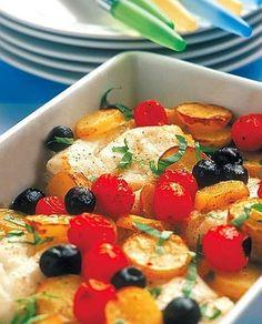 Merluzzo al forno con patate, olive e pomodorini (la cucina del corriere)